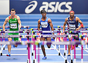 Balazs Baji (HUN), Jarret Eaton (USA) and Aurel Manga (FRA) race between the hurdles in their Semi Final of the Men's 60m Hurdles during the final session of the IAAF World Indoor Championships at Arena Birmingham in Birmingham, United Kingdom on Saturday, Mar 2, 2018. (Steve Flynn/Image of Sport)