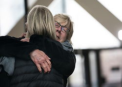 April 30, 2019 - Minneapolis, MN, USA - Mindy Barry and Marcia Yeung embrace after former Minneapolis police officer Mohamed Noor was found guilty of third-degree murder and second-degree manslaughter in the fatal shooting of Justine Ruszczyk Damond in Minneapolis, on Tuesday, April 30, 2019. They are part of Justice for Justine which is a group of neighbors and friends of Damond. (Credit Image: © TNS via ZUMA Wire)