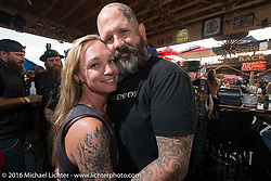Melissa and Darren McKeag at the Cycle Source Grease & Gears demo at the Iron Horse Saloon during the annual Sturgis Black Hills Motorcycle Rally.  SD, USA.  August 8, 2016.  Photography ©2016 Michael Lichter.
