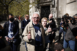 © Licensed to London News Pictures. 23/04/2021. London, UK. Former Post Office sub-postmaster Noel Thomas reacts to the verdict outside The High Court. The Appeal Court is ruling on the convictions of a group of 42 sub-postmasters - some of whom were jailed for stealing money after the Horizon accounting software was installed at Post Offices. At a previous High Court hearing a judge found the Fujitsu accounting system had major faults and defects. The Post Office has already agreed to pay £58m in a settlement with more than 500 sub-postmasters. <br />
