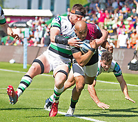 Rugby Union -2020/2021 Gallagher Premiership - Round 22 -<br />Harlequins vs Newcastle Falcons - The Stoop<br /><br />Aaron Morris of Harlequins pushes through