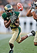 SHOT 9/1/13 6:43:57 PM - Colorado State's Rashard Higgins #82 tries unsuccessfully to catch a pass in front of a Colorado defender during the 2013 Rocky Mountain Showdown at Sports Authority Field at MiIe HIgh Stadium in Denver, Co. Colorado won the annual in-state rivalry 41-27. (Photo by Marc Piscotty / © 2013)