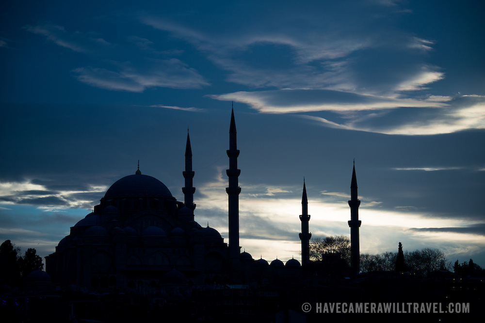 Silhouette of Suleymaniye Mosque on Istanbul's skyline at dusk. Dedicated to Suleiman the Magnificent (or Suleiman I), the longest-reigning Ottoman Sultan (1520-1566), Süleymaniye Mosque stands prominently on Istanbul's Third Hill and is considered the city's most important mosque. It was completed in 1558.
