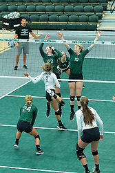 26 August 2017:  Kyleigh Block, Anne Cummings & Claire Bergman during the green-white scrimmage of the Illinois Wesleyan Titans in Shirk Center, Bloomington IL
