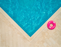 Aerial view of swimming pool and inflatable ring in Sumartin, Brac, Croatia.