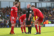 Referee Lee Swabley awards a penalty during the EFL Sky Bet League 1 match between Burton Albion and Accrington Stanley at the Pirelli Stadium, Burton upon Trent, England on 23 March 2019.