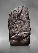 Late European Neolithic prehistoric Menhir standing stone with carvings on its face side. The representation of a stylalised male figure starts at the top with a long nose from which 2 eyebrows arch around the top of the stone. below this is a carving of a falling figure with head at the bottom and 2 curved arms encircling a body above. at the bottom is a carving of a dagger running horizontally across the menhir. Excavated from Cabamadau, Villa Sant' Antonia. Menhir Museum, Museo della Statuaria Prehistorica in Sardegna, Museum of Prehoistoric Sardinian Statues, Palazzo Aymerich, Laconi, Sardinia, Italy .<br /> <br /> Visit our PREHISTORIC PLACES PHOTO COLLECTIONS for more photos to download or buy as prints https://funkystock.photoshelter.com/gallery-collection/Prehistoric-Neolithic-Sites-Art-Artefacts-Pictures-Photos/C0000tfxw63zrUT4