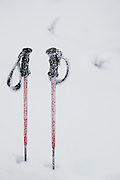 Ski poles covered in frost on Sourdough Ridge, North Cascades National Park, Washington.