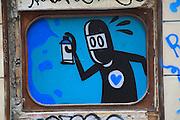 Graffiti spray paint can image city of Valencia, Spain