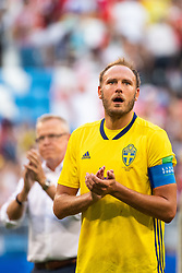 July 7, 2018 - Samara, RUSSIA - 180707 Andreas Granqvist of Sweden looks dejected while he recognizes the fans after loosing the FIFA World Cup quarter final match between Sweden and England on July 7, 2018 in Samara..Photo: Joel Marklund / BILDBYRÃ…N / kod JM / 87755 (Credit Image: © Joel Marklund/Bildbyran via ZUMA Press)