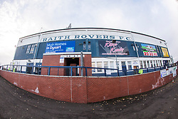 Outside the Main Stand at Stark's Park, the home ground of Scottish football team, Raith Rovers F.C.