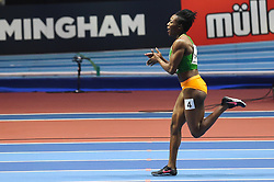 March 2, 2018 - Birmingham, England, United Kingdom - Murielle Ahouré of ivory Coast winning the 60 meter final at World indoor Athletics Championship 2018, Birmingham, England on March 2, 2018. (Credit Image: © Ulrik Pedersen/NurPhoto via ZUMA Press)