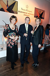 Left to right, KATE SILVERTON, GRAHAM BOYES MD of Veuve Clicquot and SABINA BELLI at the presentation of the Veuve Clicquot Business Woman Award 2010 held at the Institute of Contemporary Arts, 12 Carlton House Terrace, London on 23rd March 2010.  The winner was Laura Tenison - Founder and Managing Director of JoJo Maman Bebe.