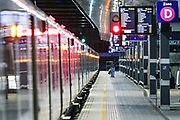 April 6, 2020, London, England, United Kingdom: General view of a near-empty London Bridge Station, in London, Monday, April 6, 2020 - as British Prime Minister Boris Johnson was moved to intensive care after his coronavirus symptoms worsened in London. Johnson was admitted to St Thomas' hospital in central London on Sunday after his coronavirus symptoms persisted for 10 days. Having been in the hospital for tests and observation, his doctors advised that he be admitted to intensive care on Monday evening. (Credit Image: © Vedat Xhymshiti/ZUMA Wire)