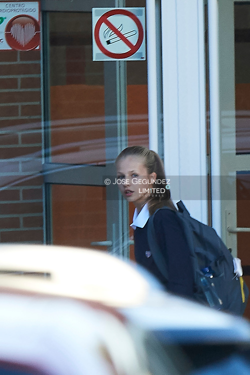 Crown Princess Leonor arrive at the 'Santa Maria de los Rosales' school on the first day of schoo on September 11, 2019 in Madrid, Spain