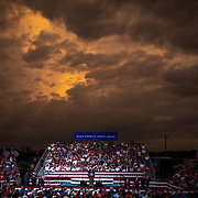 WINSTON-SALEM, NC - SEPT 8: The sun sets as President Donald Trump speaks to a large group of supporters at a rally during a planned campaign stop right off the tarmac at Smith Reynolds Regional Airport in Winston-Salem, NC on September 8, 2020. North Carolina will be a battle ground state in the 2020 presidential election.  (Photo by Logan Cyrus for Bloomberg)