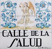 Calle de La Salud. (Health street) Ceramic street sign in Madrid, Spain