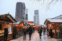 BERLIN, Dec. 22, 2016  People walk around in the reopened Christmas market at the Breitscheid Square in Berlin, capital of Germany, on Dec. 22, 2016. The Christmas market here attacked on Monday, was reopened on Thursday.  gl) (Credit Image: © Shan Yuqi/Xinhua via ZUMA Wire)