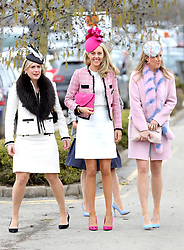 Fiona Johnson (centre) wife of Jockey Richard Johnson arrives for Ladies Day of the 2018 Cheltenham Festival at Cheltenham Racecourse.