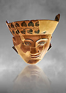An Etruscan Dinos ( style of vase) with a face, from the Group of Dinoi Campana Ribbon Painter,  540-520 B.C. inv 3784, National Archaeological Museum Florence, Italy , grey art background .<br /> <br /> If you prefer to buy from our ALAMY PHOTO LIBRARY  Collection visit : https://www.alamy.com/portfolio/paul-williams-funkystock - Scroll down and type - Etruscan Florence - into LOWER search box. (TIP - Refine search by adding a background colour as well).<br /> <br /> Visit our ETRUSCAN PHOTO COLLECTIONS for more photos to download or buy as wall art prints https://funkystock.photoshelter.com/gallery-collection/Pictures-Images-of-Etruscan-Historic-Sites-Art-Artefacts-Antiquities/C0000GgxRXWVMLyc