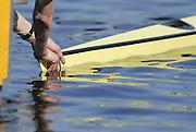 Hazewinkel, BELGIUM, Men's Single Scull, boat holding at the start pontoon in the Sunday, semi final, during the GB Rowing Senior Trials, on Sun,15.04.2007  [Credit, Peter Spurrier/Intersport-images]   [Mandatory Credit, Peter Spurier/ Intersport Images]. , Rowing Course, Bloso, Hazewinkel. BELGUIM