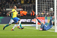Gabriel Jesus (Brazil) (unseen) scores a goal, Fernandinho (Brazil) and Kevin Trapp (Germany) during the International Friendly Game football match between Germany and Brazil on march 27, 2018 at Olympic stadium in Berlin, Germany - Photo Laurent Lairys / ProSportsImages / DPPI