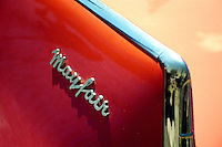 Tail fin and name plaque 1957 red Dodge Mayfair