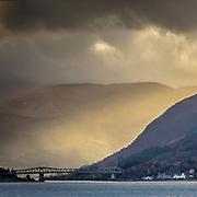 Morning light from Glen Coe with Ballachulish Bridge, Highland, Scotland.