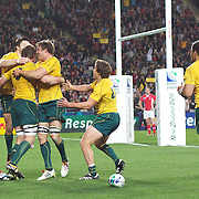 Ben McCalman, Australia, scores a try during the Australia V Wales Bronze Final match at the IRB Rugby World Cup tournament, Auckland, New Zealand. 21st October 2011. Photo Tim Clayton...
