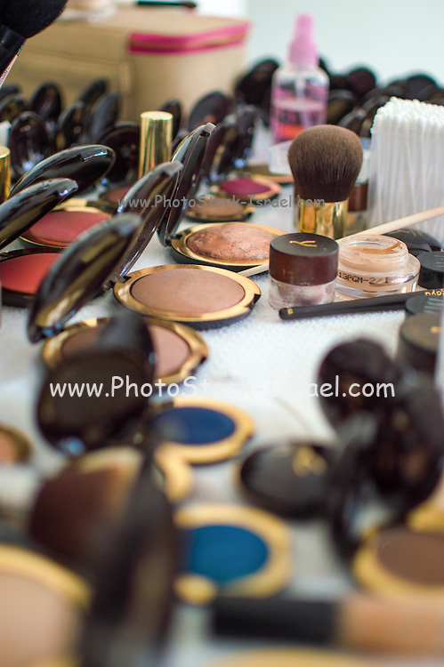Make-up artist's bag with a variety of make-up brushes and colours