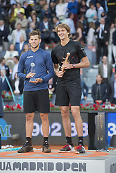 May 13, 2018 - Madrid, Madrid, Spain - ALEXANDER ZVEREV and DOMINIC THIEM in the podium of Mutua Madrid Open 2018 - ATP in Madrid. ALEXANDER ZVEREV won the match 6-4 6-4. (Credit Image: © Patricia Rodrigues via ZUMA Wire)
