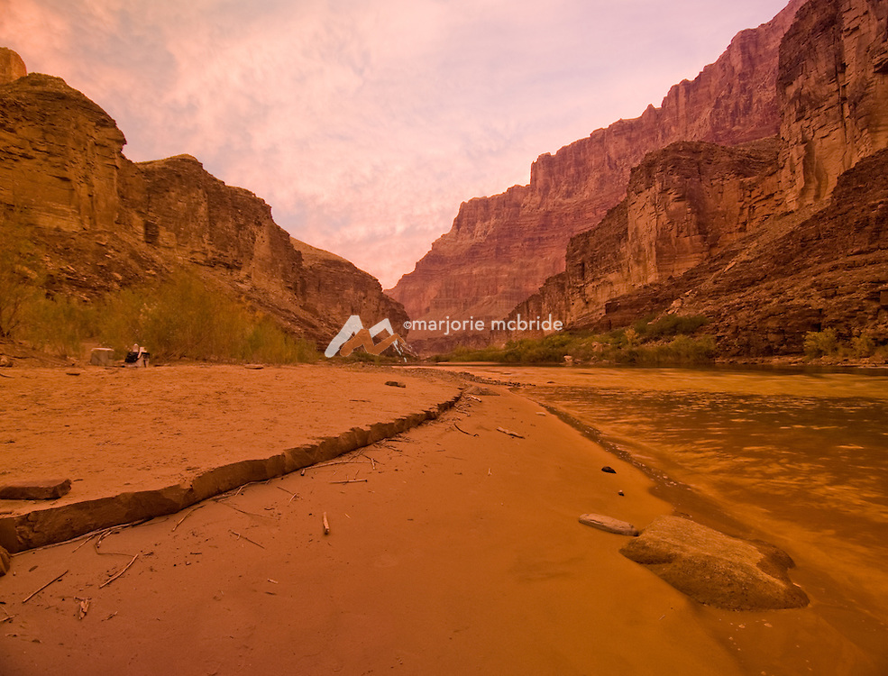 Sunrise at Carbon Creek Camp on the Colorado River in the Grand Canyon National Park, Arizona. at Carbon Creek Camp on the Colorado River in the Grand Canyon National Park, Arizona.