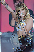 Pilton, Somerset, UK. 30th June 2019. Miley Cyrus plays the Pyramid Stage to a small, reflective but generally appreciative crowd - The 2019 Glastonbury Festival, Worthy Farm, Glastonbury.