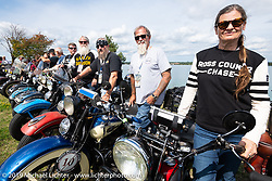 Cris Sommer-Simmons and Bill Page lined up for the panorama portrait in Aune Osborne Park in Sault Sainte Marie, the site of the official start of the Cross Country Chase motorcycle endurance run from Sault Sainte Marie, MI to Key West, FL. (for vintage bikes from 1930-1948). Thursday, September 5, 2019. Photography ©2019 Michael Lichter.