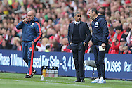 Brighton Assistant Manager, Colin Calderwood and Brighton Manager, Chris Hughton during the Sky Bet Championship match between Middlesbrough and Brighton and Hove Albion at the Riverside Stadium, Middlesbrough, England on 7 May 2016.