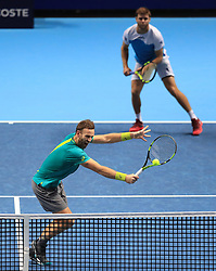 Ryan Harrison and Michael Venus during day five of the NITTO ATP World Tour Finals at the O2 Arena, London.