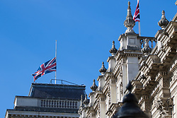 Cabinet Office, London, June 4th 2017. flags fly at half mast in Whitehall as government ministers and security chiefs gather for the emergency COBRA Committee meeting following the London Bridge and Borough Markets terrorist incident which claimed the lives of six members of the public and injured over twenty more.