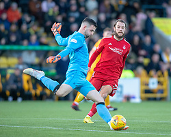 Aberdeen's Stevie May and Livingston keeper Liam Kelly. half time : Livingston 0 v 0 Aberdeen, SPFL Ladbrokes Premiership played 29/1/2018 at Livingston home ground, Tony Macaroni Arena.