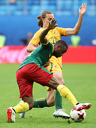 2017?6?23?.   ????????——?????????????????.    6?22??????????????????????????.    ??????????????2017????????B???????????1?1?????????.    ?????????..(SP)RUSSIA-ST. PETERSBURG-2017 FIFA CONFEDERATIONS CUP-CMR VS AUS..(170623) -- ST. PETERSBURG, June 23, 2017  Jackson Irvine (back) competes during the group B match between Cameroon and Australia of the 2017 FIFA Confederations Cup in St. Petersburg, Russia, on June 22, 2017. The match ended with a 1-1 tie.  7 9854294892 (Credit Image: © Xu Zijian/Xinhua via ZUMA Wire)