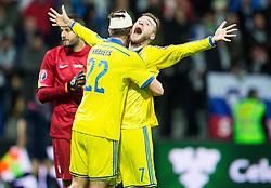 Artem Kravets (UKR) and Andriy Yarmolenko (UKR) celebrate after scoring goal for Ukraine in last second during the UEFA EURO 2016 Play-off for Final Tournament, Second leg between Slovenia and Ukraine, on November 17, 2015 in Stadium Ljudski vrt, Maribor, Slovenia. Photo by Vid Ponikvar / Sportida