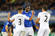 Romelu Lukaku of Everton (c) argues with Neil Taylor and Jordi Amat of Swansea City. Premier league match, Everton v Swansea city at Goodison Park in Liverpool, Merseyside on Saturday 19th November 2016.<br /> pic by Chris Stading, Andrew Orchard sports photography.