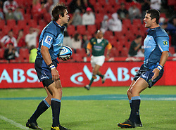 Bulls player Gerhard van den Heever and celebrates with Morne Steyn.19 February 2011, Gauteng Lions v Blue Bulls, Vodacom Super 15, CocaCola Park, Johannesburg, South Africa,.photo by Abbey Sebetha, Eagency