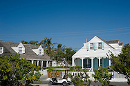 White clapboard colonial style houses in Dunmore Town, Harbour Island, The Bahamas