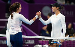 February 12, 2019 - Doha, QATAR - Julia Goerges of Germany & Ajla Tomljanovic of Australia at the net after their first-round match at the 2019 Qatar Total Open WTA Premier tennis tournament (Credit Image: © AFP7 via ZUMA Wire)