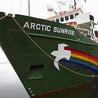 Greenpeace ship MV Arctic Sunrise in Leith, Edinburgh, to launch the Scottish leg of Greenpeace's  'Trident:We Don't Bui It' Tour.