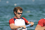 Munich, GERMANY, USA M2-, Bow, Jason READ,  moves away from the start at the FISA World Cup at the Munich Olympic Rowing Course, 10.05.2008  [Mandatory Credit Peter Spurrier/ Intersport Images] Rowing Course, Olympic Regatta Rowing Course, Munich, GERMANY
