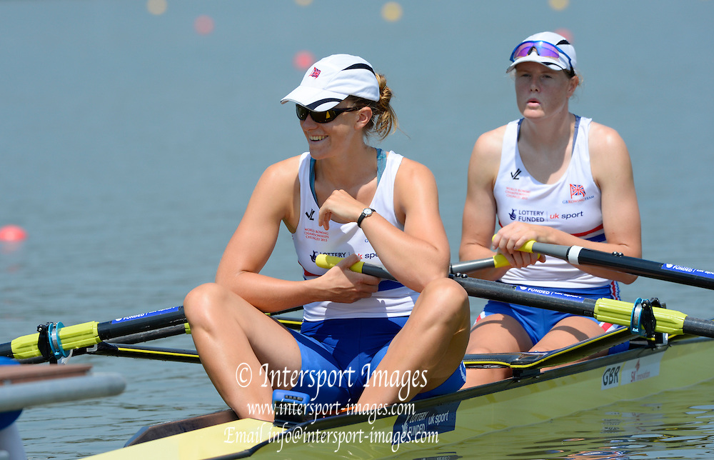 Chungju, South Korea.  GBR W2X. Bow. Frances HOUGHTON and Victoria MEYER-LAKER, move away from the start on the second day of the 2013 FISA World Rowing Championships, Tangeum Lake International Regatta Course. 03:38:05  Monday  26/08/2013 [Mandatory Credit. Peter Spurrier/Intersport Images]