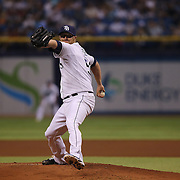 Tampa Bay Rays starting pitcher Alex Cobb (53) pitches during a major league baseball game between the New York Yankees and the Tampa Bay Rays at Tropicana Field on Thursday, Sept. 17, 2014 in St. Petersburg, Florida. The Yankees won the game 3-2. (AP Photo/Alex Menendez)
