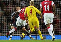 Photo: Paul Thomas.<br /> Arsenal v Liverpool. The Barclays Premiership. 12/11/2006.<br /> <br /> Kolo Toure (5) scores for Arsenal.