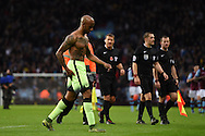 Fabian Delph of Man city, the ex Villa player walks off at end of the game.   Barclays Premier league match, Aston Villa v Manchester city at Villa Park in Birmingham, Midlands  on Sunday 8th November 2015.<br /> pic by  Andrew Orchard, Andrew Orchard sports photography.